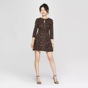 Floral Print 3/4 Sleeve Cross Front Knit Dress